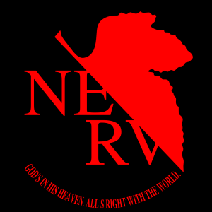 I was also informed to look out for religious themes as well... The NERV logo is perhaps a hint of the overall story.